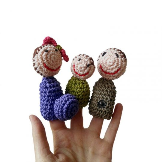 Marionetas de dedo Familia de Crochet