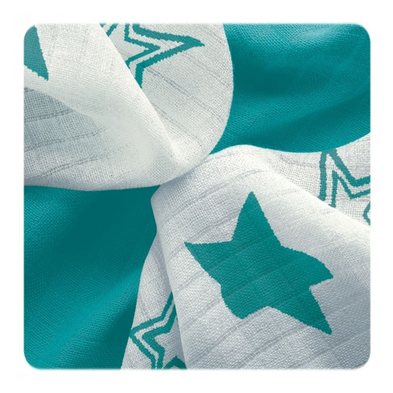 Muselina Bambú Stars Turquoise 30x30cm (pack 9)