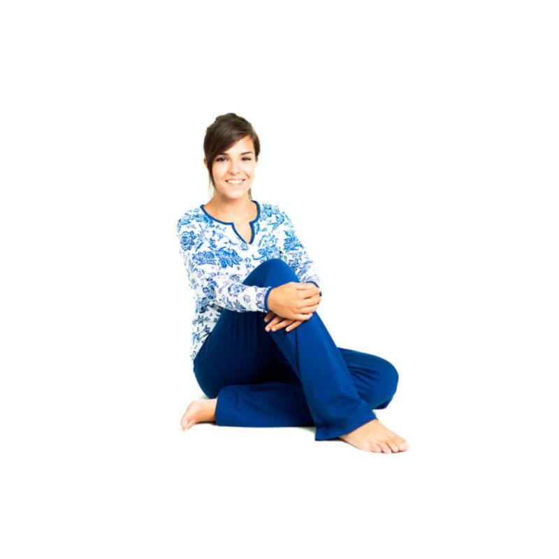 Pijama de lactancia - Flores azul -