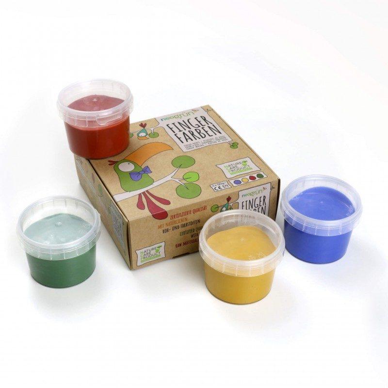 Pintura de Dedos Natural Bio Vegana (Amarillo, Verde, Rojo Y Azul) - Monetes