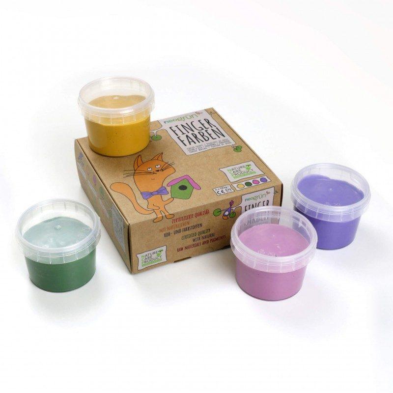 Pintura de Dedos Natural Bio Vegana (Rosa, Violeta, Amarillo y Verde) - Monetes
