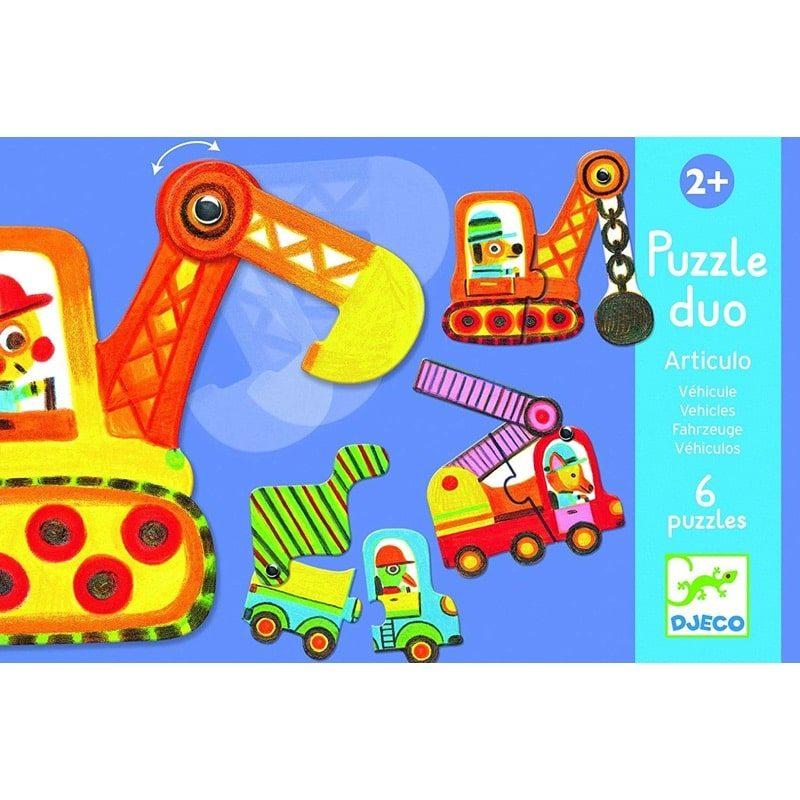 Puzzle Dúo articulado vehículos - Monetes