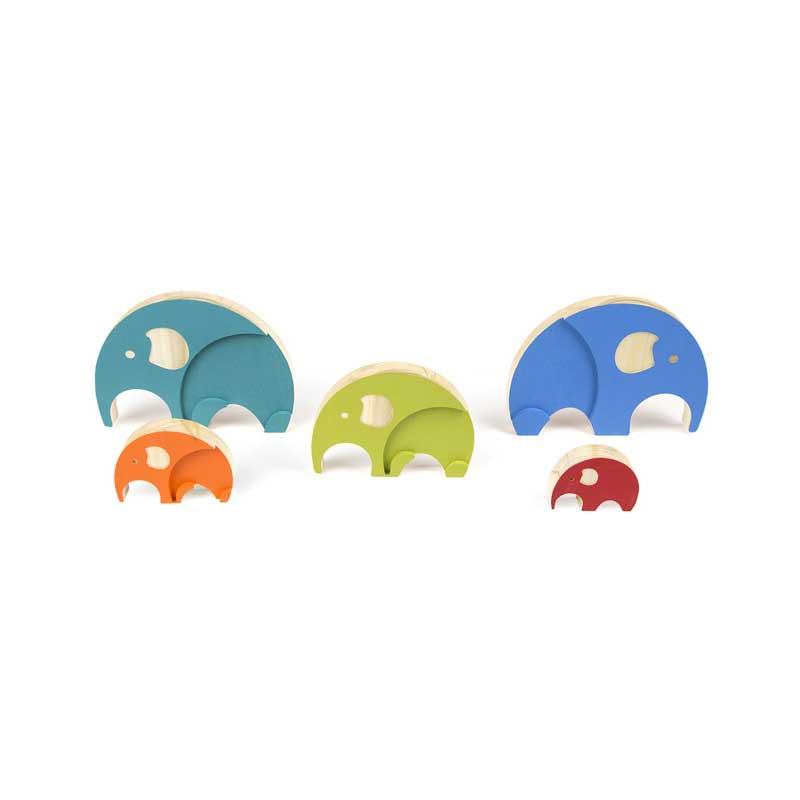 Puzzle de madera volumétrico Elefantes