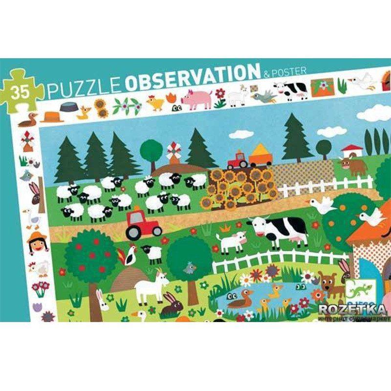 puzzle-observacion-granja-35-piezas-djeco-monetes