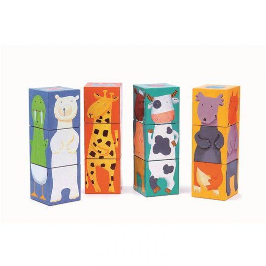 Rompecabezas 12 Cubos Animales Colores