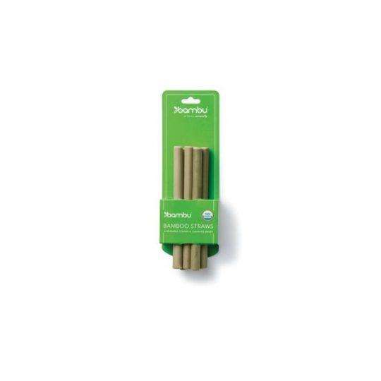 Pajitas reutilizables de bambú cortas - pack de 6 + cepillo limpiador-