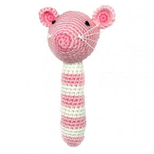 Sonajero Bambú Nature - Ratón Rosa -