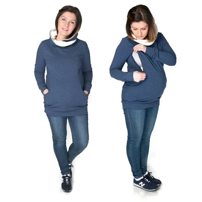 Camiseta de embarazo/lactancia Lily - Jeans/Crudo -
