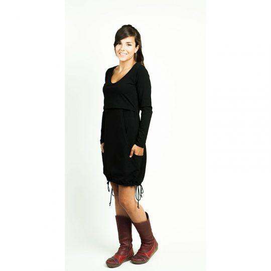 Vestido manga larga Premamá/Lactancia Negro - Lily -