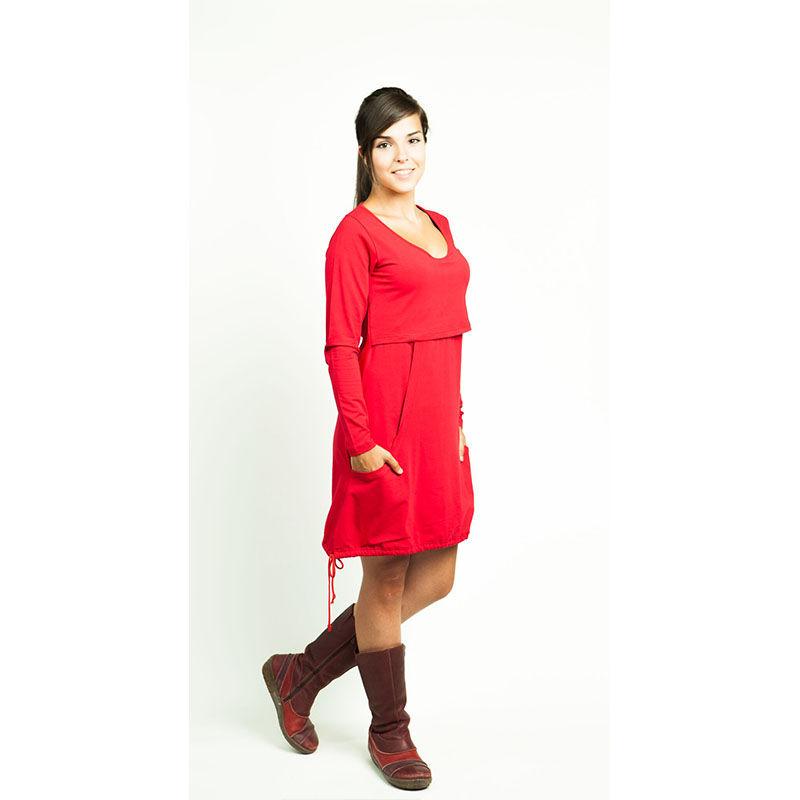 957a3bb4c Vestido manga larga Premamá Lactancia -Lily Rojo-